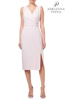 Adrianna Papell Pink Cameron Textured Woven Sheath Dress