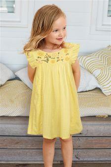 فستان مطرز بالأزهار (3 أشهر -6 سنوات)