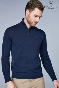 Hackett Navy Half Zip Logo Jumper