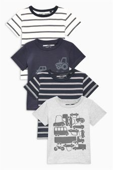 Car And Stripe T-Shirts Four Pack (3mths-6yrs)