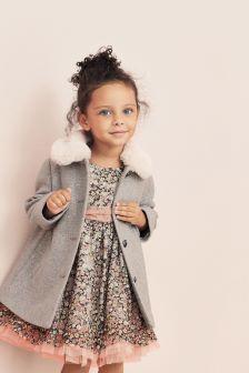Пальто с воротником из искусственного меха (12 мес. - 5 лет)