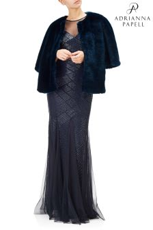 Adrianna Papell Blue Faux Fur Cape