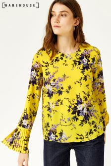 Warehouse Yellow Trailing Floral Pleat Cuff Top