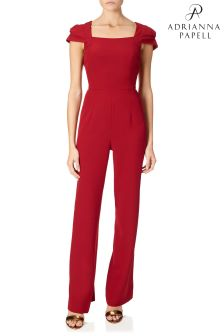 Adrianna Papell Red Stretch Crepe Jumpsuit