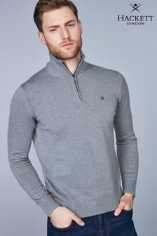 Серый джемпер с молнией до середины груди и логотипом Hackett