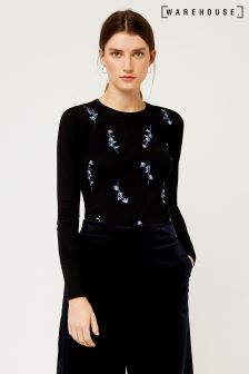Warehouse Black Gilly Floral Embroidered Jumper