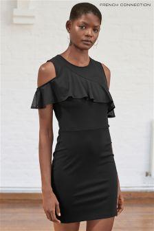 Czarna sukienka z tkaniny ponte, z odkrytymi ramionami French Connection Lore Lula