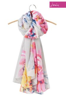 Joules Silver Floral Harmony Large Scarf