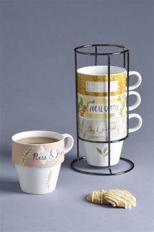 Set of 4 Floral Stacking Mugs