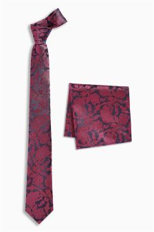 Галстук с узором и нагрудный платок (комплект)