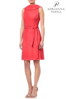 Adrianna Papell Pink Knit Crepe Roll Neck A-Line Dress