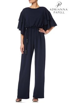 Adrianna Papell Blue Long Crepe Jumpsuit