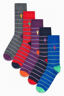 Stag Embroidered Socks Five Pack