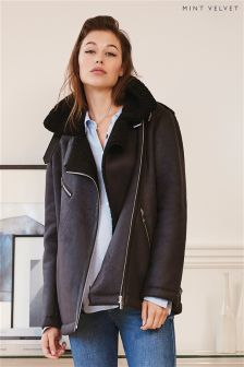 Mint Velvet Black Faux Fur Aviator Jacket