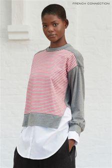 French Connection Grey Kapiti Blocking Jersey Sweater