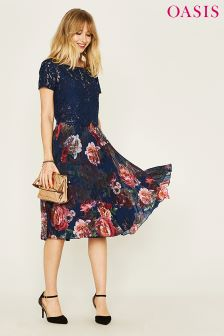 Oasis Blue Romance Placement Dip Hem Midi Dress