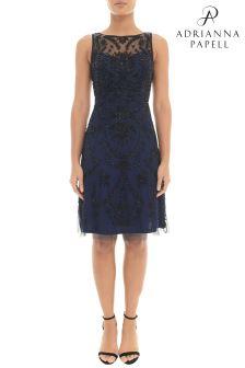 Adrianna Papell Blue Short Fully Beaded Dress