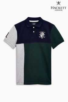 Hackett Navy/Green Short Sleeve Off Centre Poloshirt