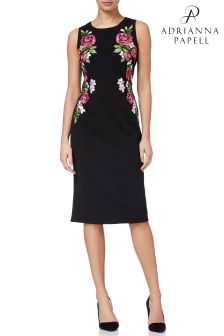 Adrianna Papell Black Knit Crepe Embroidered Sheath Dress