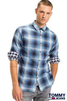 Niebieska koszula w kratę Tommy Jeans Basic