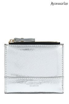 Accessorize Silver Bella Double Zip Wallet