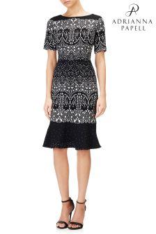 فستان خصر منسدل أسود من Adrianna Papell