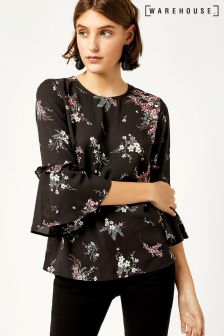 Warehouse Black Spaced Sprig Double Frill Top