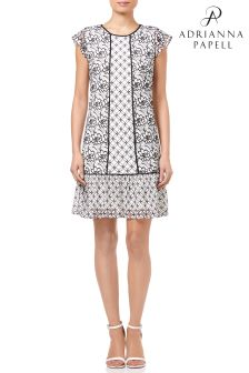 Adrianna Papell White Flutter Sleeve Shift Dress