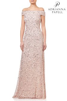 Adrianna Papell Pink Off Shoulder Crunchy Bead Gown