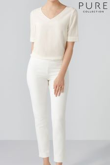 Pure Collection White Cotton Stretch Crop Trouser