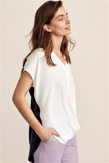 Wrap Front Woven Mix Tee