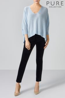 Pure Collection Blue Cashmere V-Neck Poncho Sweater