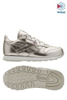 Reebok Metallic Silver/White Classic Leather Trainer