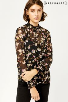 Warehouse Black Sweet Pea Print Top
