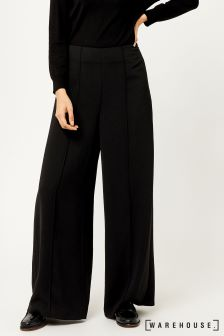 Warehouse Black Pintuck Wide Leg Trouser