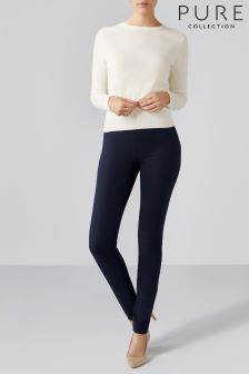 Pure Collection Navy Cotton Stretch Skinny Trouser