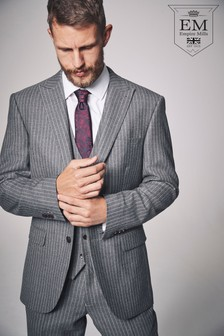 British Wool Striped Regular Fit Suit: Jacket
