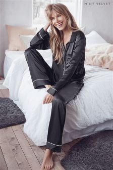Mint Velvet Grey Classic Satin Pyjama Set