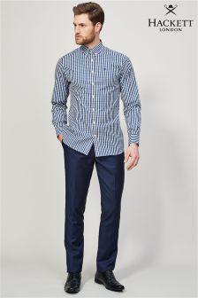 Синие однотонные шерстяные брюки Hackett