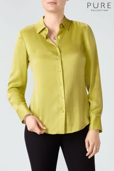 Pure Collection Green Pure Silk Blouse