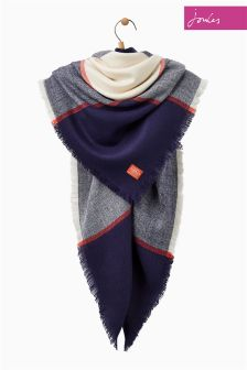 Joules Navy Check Soft Handle Oversized Heyford Scarf