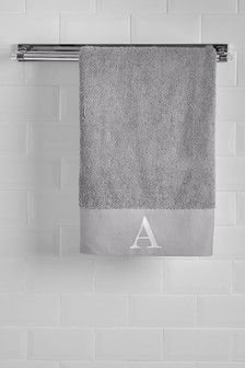 Grey Initial Bath Sheet