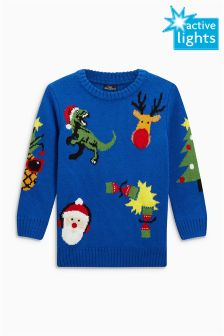 Christmas All Over Print Crew Neck Jumper (3-16yrs)