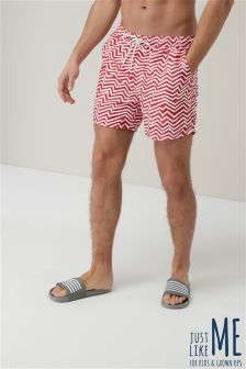 Chevron Print Swim Shorts