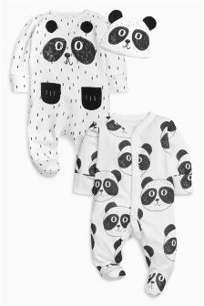 Panda Sleepsuits Two Pack With Hat (0-18mths)