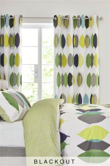 Evergreen Leaf Blackout Lined Eyelet Curtains Studio Collection By Next