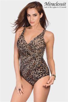 Miraclesuit Leopard Print Oceanus Cross Over Swimsuit