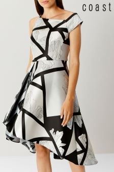 Coast Black Barton Print Full Midi Dress