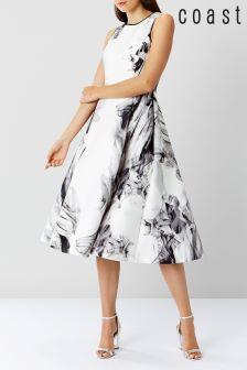 Coast Cream Grove Print Scuba Midi Dress