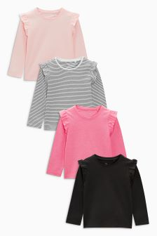 Frill Detail Long Sleeve T-Shirts Four Pack (3mths-6yrs)